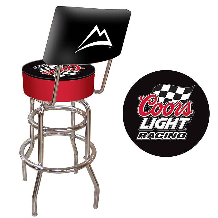 Coors Light Racing Logo Checkered Flag Padded Bar Stool