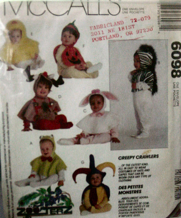 Pattern: 6098 (USED) Infant & Toddler Hood & Cape Costumes
