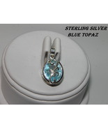 New Sterling Silver Pendant 4.88ct Oval Sky Blue Topaz Bezel set 12x10 R... - $28.00