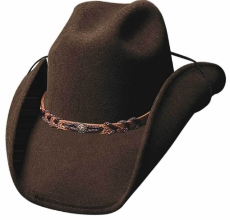 Primary image for Bullhide Montana Wool Cowboy Hat Braided Leather Band Center Concho Black Brown