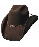 Bullhide Montana Wool Cowboy Hat Braided Leather Band Center Concho Black Brown - $62.00