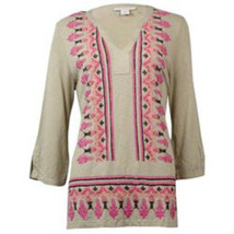 Charter Club Women's Beaded Printed Cotton Knit Tunic (M, Sand Combo) - $9.98
