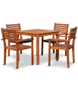 DTY Outdoor Living Leadville Eucalyptus Square Dining Set With 4 Stackin... - £289.35 GBP+