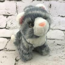 Vintage Goffa Kitty Cat Plush Gray Striped Mini Stuffed Animal Kitten So... - $11.88