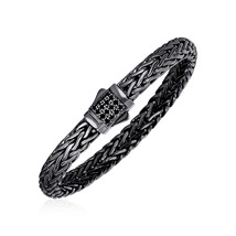 Woven Rope Bracelet with Black Sapphire and Black Finish in Sterling Silver - $515.75