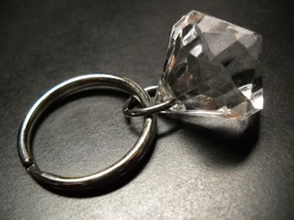 Diamond Key Chain Huge Multi Faceted Transparent with Silver Colored Hardware - $6.99