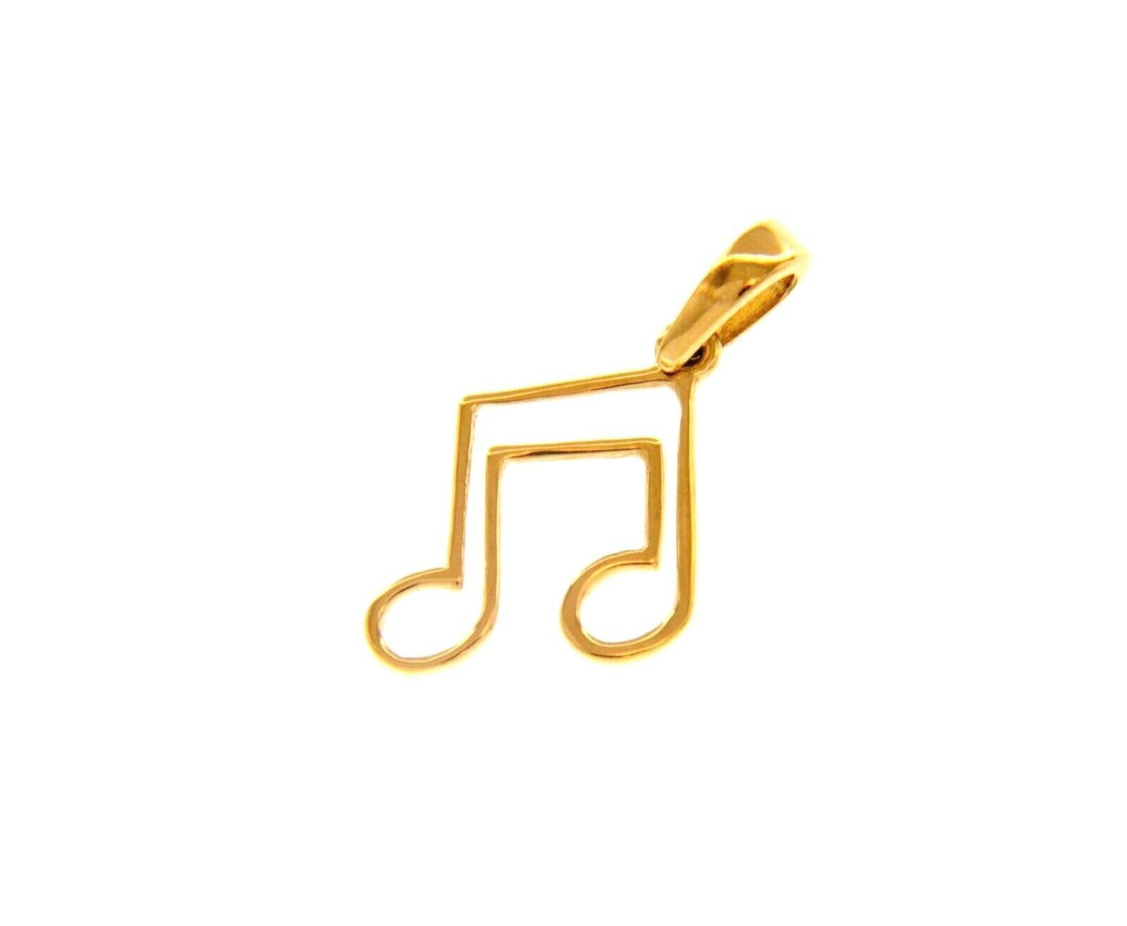"18K YELLOW GOLD PENDANT SMALL MUSICAL NOTE 11mm 0.43"", MADE IN ITALY"