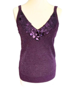 90s Plum Purple Lurex Metallic Jersey Knit Sequinned Disco Tank Top Old ... - $41.00