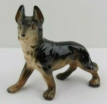 """Vintage German Shepherd Dog Figurine Standing Porcelain Brown Tan 3 1/2""""... - $19.79"""