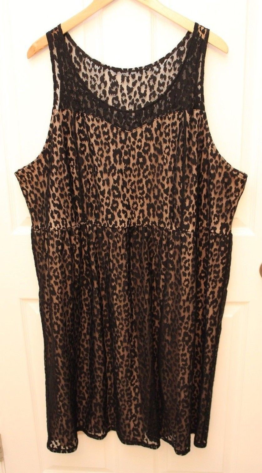 Primary image for Lane Bryant Plus Size 26 Black Animal Print Lace Dress Nude Lined Sleeveless