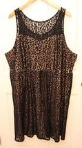 Lane Bryant Plus Size 26 Black Animal Print Lace Dress Nude Lined Sleeve... - $36.60