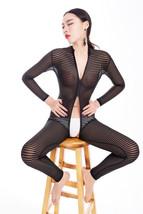 Women Black Striped Sheer Bodysuit Smooth Fiber 2 Zipper Long Sleeve Jumpsuit - $12.99