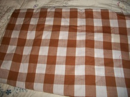 Brown & White Checked Cotton Fabric  - $8.00