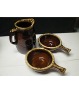 HULL BROWN DRIP PITCHER & 2 HANDLED BOWLS~~~lot of 3 - $14.99