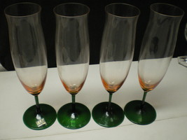 4 MIKASA TALL MULTI COLORED PILSNERS / CHAMPAGNE FLUTES~~green & amber~~... - $29.95