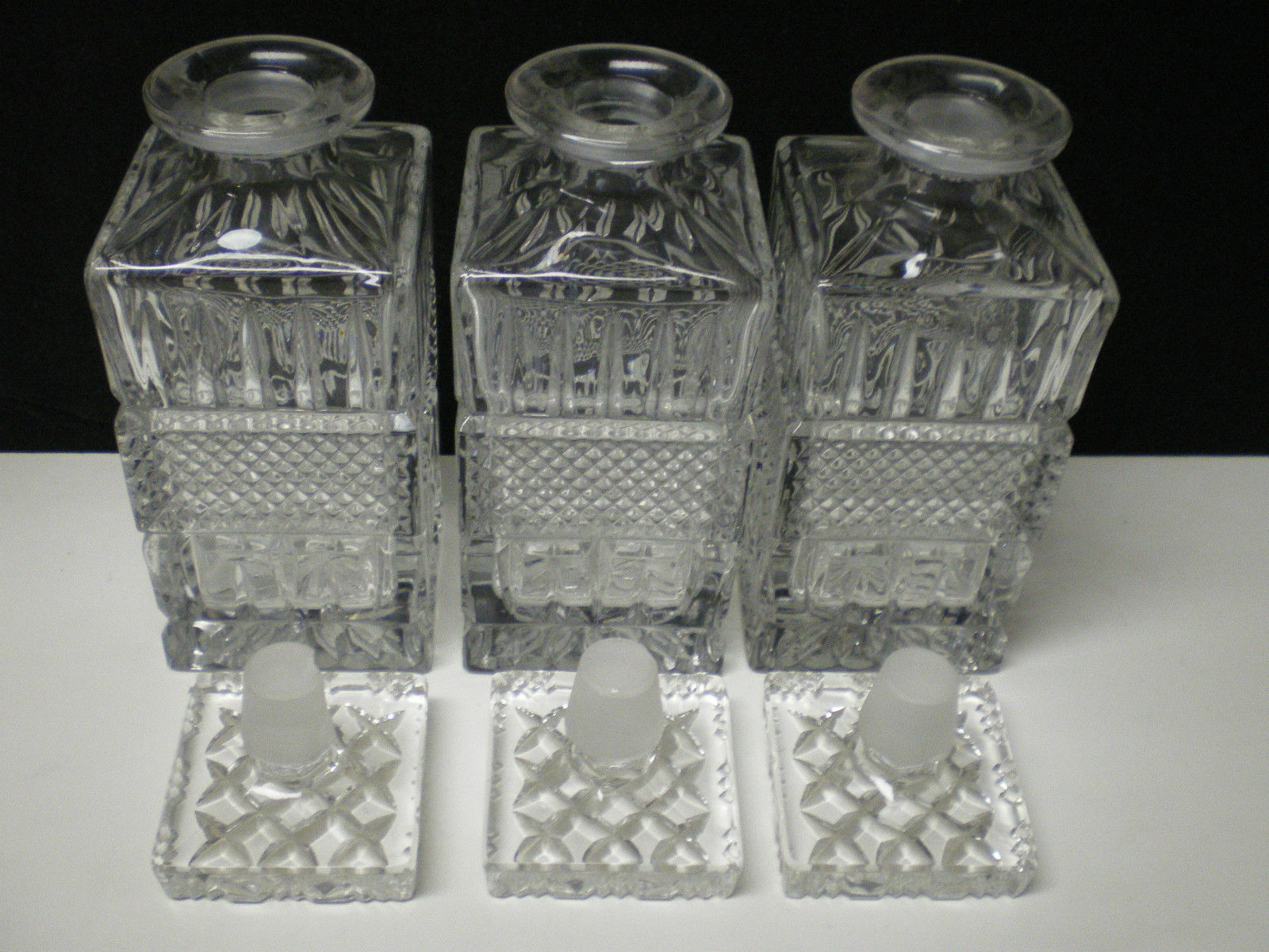 3 MATCHING VINTAGE CUT DECANTER~~~NICE ONE~~~Bohemian / Czech