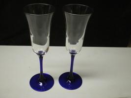 2 CRIS D' ARQUES / DURAND AMERICAN BLUE CHAMPAGNE FLUTES COBALT STEMS - $12.99