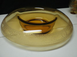 "1  FOSTORIA SEVILLE AMBER 13"" ROLLED CENTER BOWL ~~~~rare one~~ - $36.95"