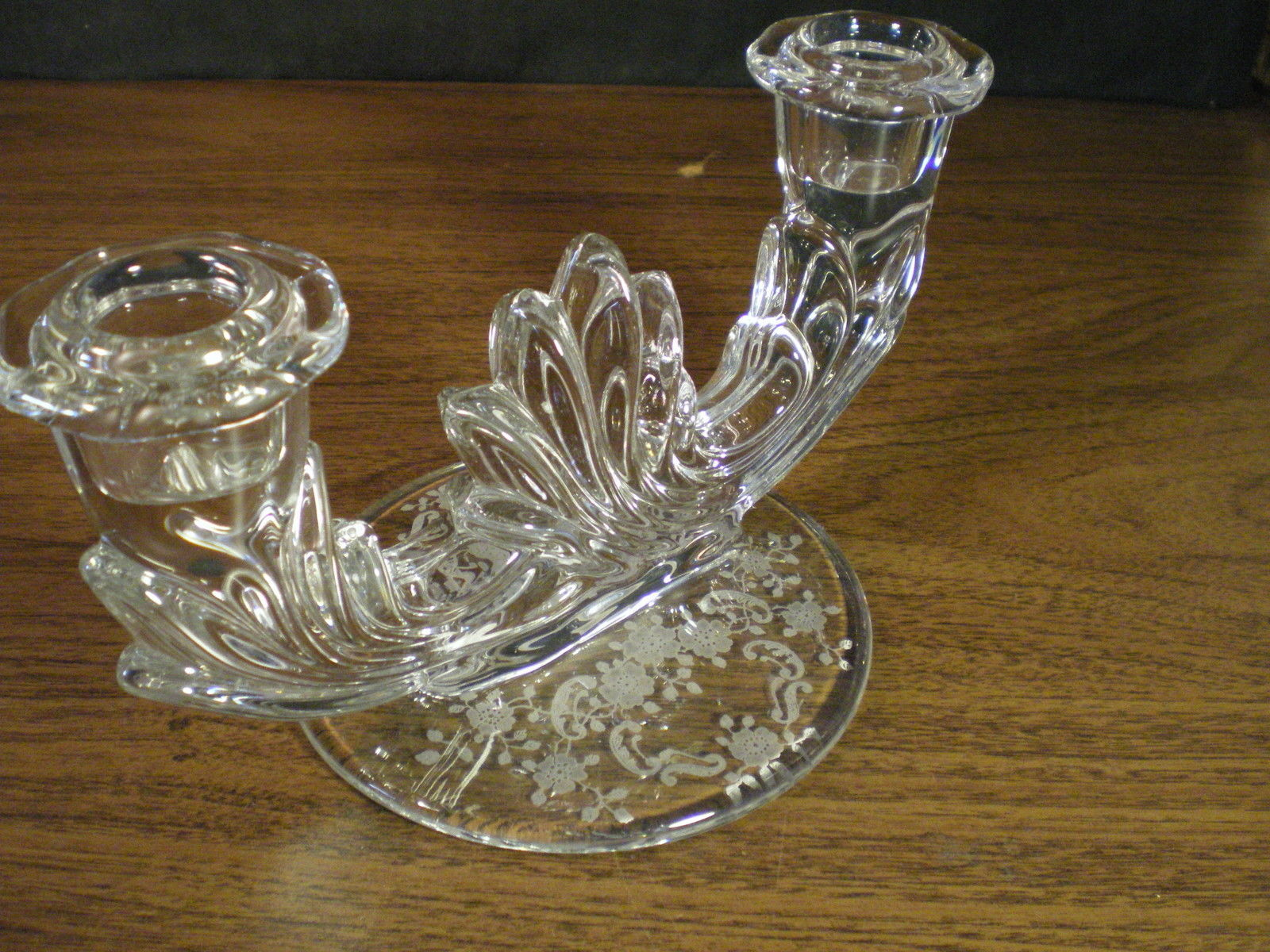"Primary image for PAIR FOSTORIA ""MEADOW ROSE"" DOUBLE CANDLE HOLDER~~HTF"