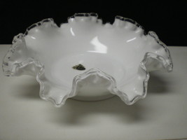 "FENTON SILVERCREST FOOTED 8 TO 10"" RUFFLED BOWL W OLD LABEL - $17.95"