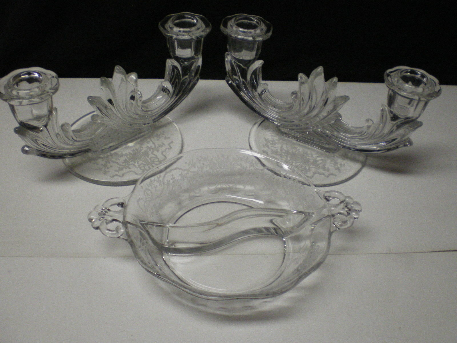 Primary image for FOSTORIA CORSAGE PAIR DOUBLE CANDLES & TWO PART RELISH~~nice set