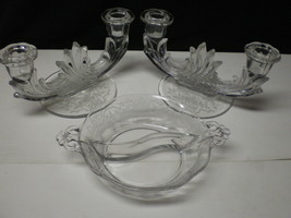 FOSTORIA CORSAGE PAIR DOUBLE CANDLES & TWO PART RELISH~~nice set - $39.95