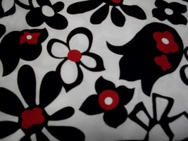 White Cotton Fabric with Black & White Flowers with Red Contrast - $25.00