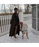Designer Full Length Revillon Brown Shearling fur Belted Trench Coat Jac... - $692.99