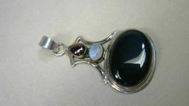 Large Sterling Onyx Amethyst Gemstone Pendant - $49.99