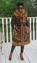 Unique Designer full length gold Fitch & Finish Raccoon Fur coat Strolle... - $890.99
