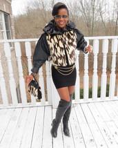 Designer crop black & cream white brown Mink Fur Coat Jacket + free bag S 2-8 - $841.49