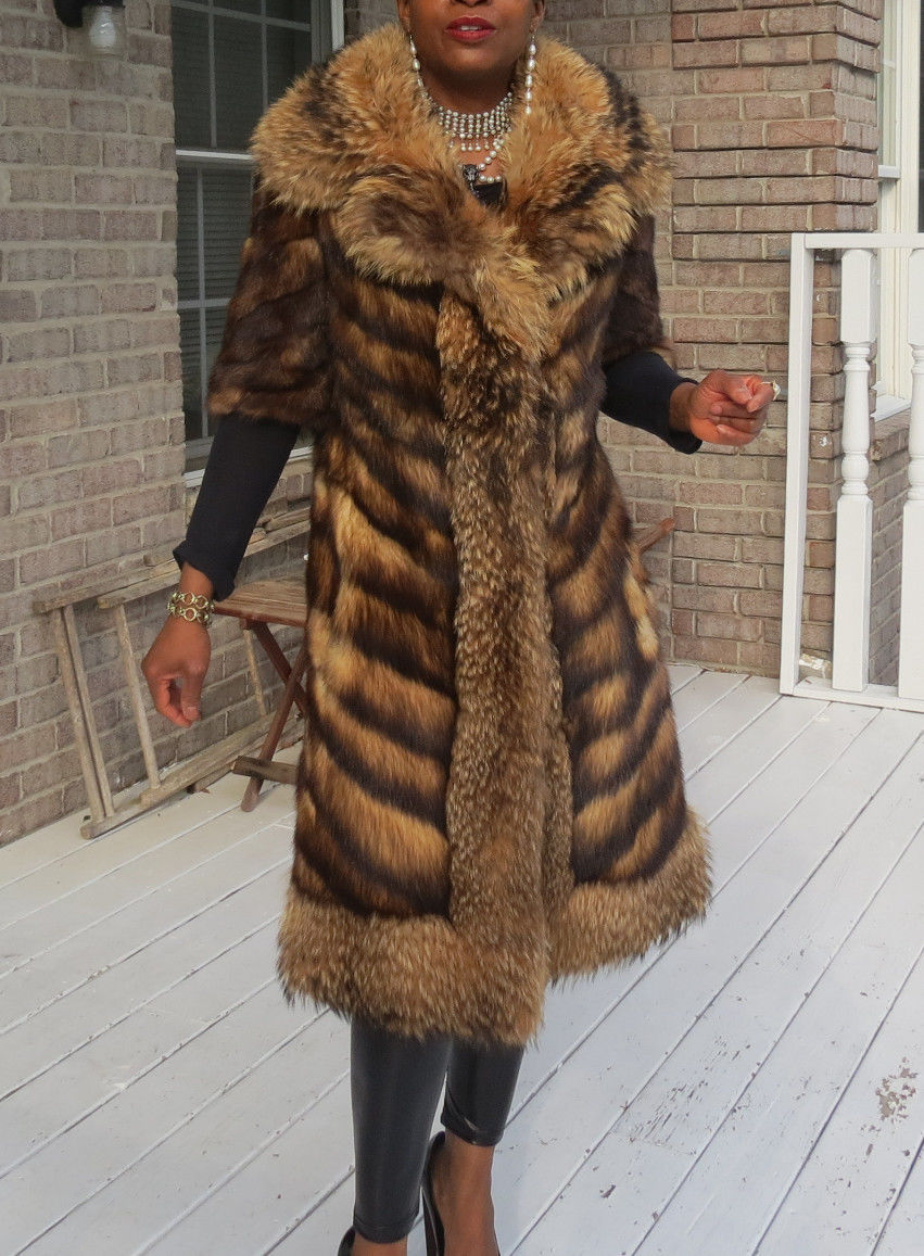Unique Designer full length gold Fitch & Finish Raccoon Fur coat Stroller S 0-6