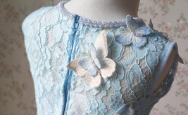 Light Blue Lace Flower Girl Dress Short Pencil Blue Birthday Party Dresses NWT image 5