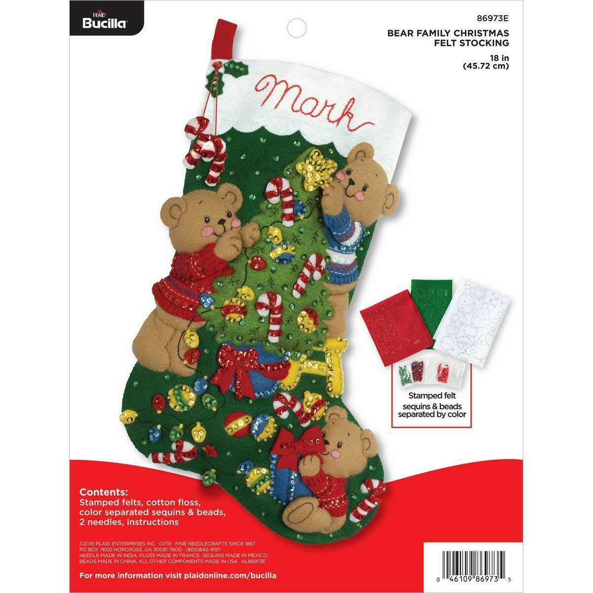 Primary image for Bucilla 'Bear Family Christmas' Felt Stocking Applique Stitchery Kit, 86973E