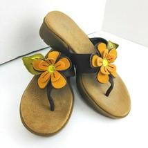 Aerosoles Womens Size 5.5 B Orange Flower Wedge Sandals Brown Flip Flop  - $34.64