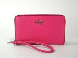 Coach Smooth Leather Zip Wallet Case Dahlia Pink 65984 New NWT - $63.36