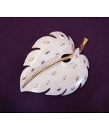 Vintage TRIFARI Gold Tone & White Enamel Leaf Brooch Pin - $32.99