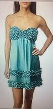 Betsey Johnson Evening Ruffled Mini Avant Garde Silk Size 2 Teal Dress - $267,91 MXN