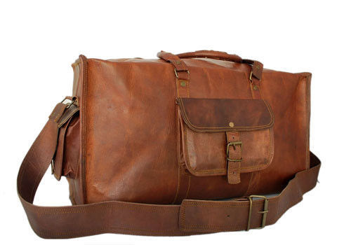 "10.5"" Handmade Leather Duffel Duffle Carry On Luggage Tote Travel Shoulder Bags"