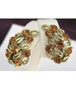 Vintage LISNER Tawny Amber Rhinestone Earrings - $28.00