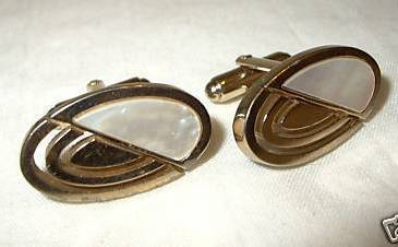 jc10 Vintage Retro Mother of Pearl MOP Oval Cufflinks Cuff Links