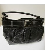 NY & Co. Black Faux Leather Shoulder Bag With Weave And Buckle Accent - $38.00