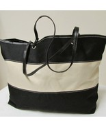 Large Cream and Black Canvas Tote Shopping Beach Bag - $25.00