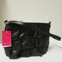 NWT Candies Soft Black Faux Leather Shoulder Pu... - $29.00