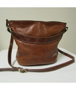 Two Toned Brown Leather Crossbody Shoulder Handbag By Chance Encounters - $39.00