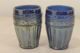 Exceedingly Rare BLUE  Carnival Glass Juice Tumblers from Argentina Circ... - $121.49
