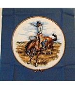"Cowboy on Bucking Horse Quilting Craft Sewing Pillow Panel  14.5"" x 14.5""  - $5.93"