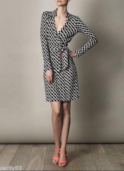 Diane von Furstenberg New Jeanne wrap dress chain link medium 10
