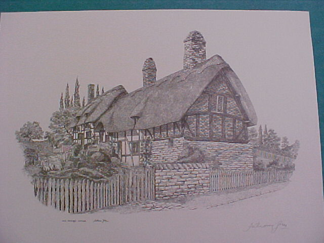 -Anthony John Signed print of Anne Hathaway's Cottage