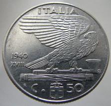 1940 WWII ITALY EAGLE War Era 50 Centesimi Rome King Victor Emanuel 3rd ... - $9.99